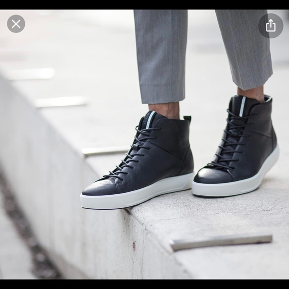 Soft 8 High Top Black Leather Sneaker